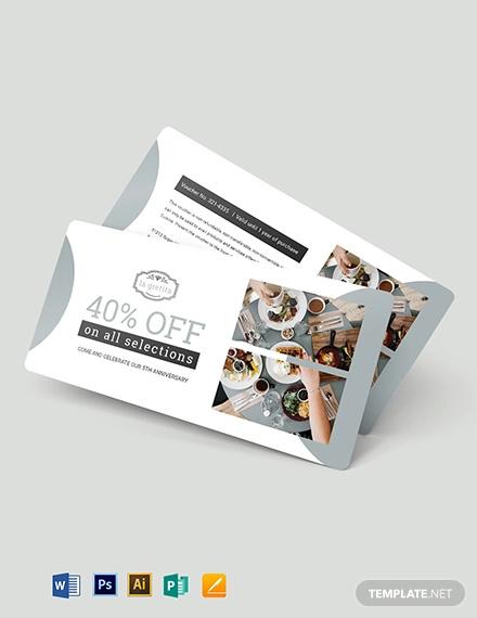 restaurant anniversary voucher template