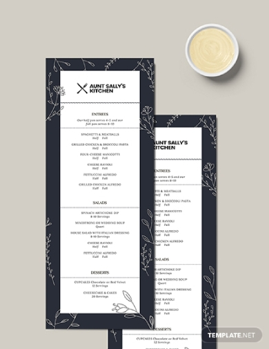 restaurant birthday menu