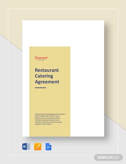 restaurant catering agreement