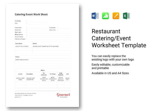 10+ Best Catering Worksheet Examples & Templates [Download ...