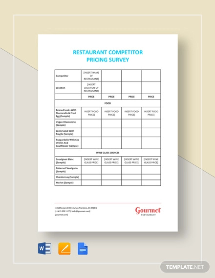 restaurant competitor pricing survey template