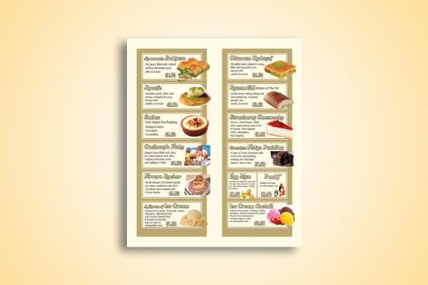 restaurant dessert menu