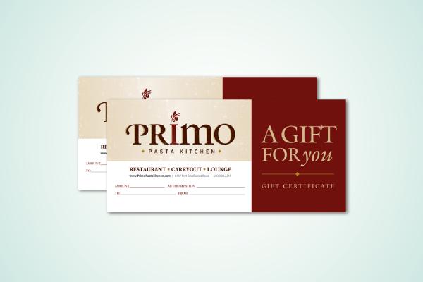 restaurant gift certificate