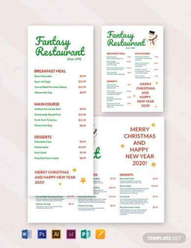 restaurant holiday menu