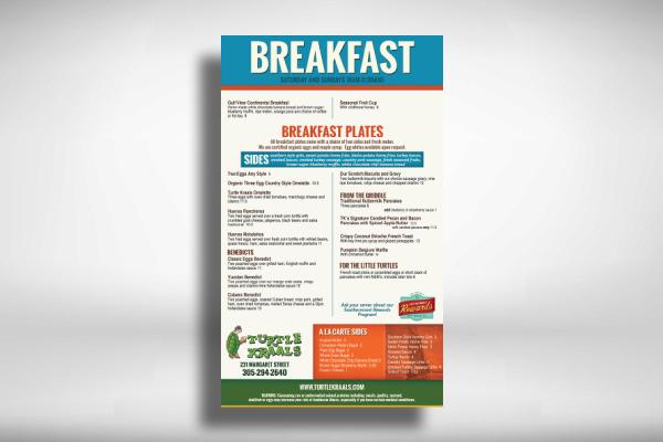 restaurant menu for breakfast