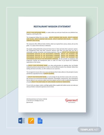 restaurant mission statement template
