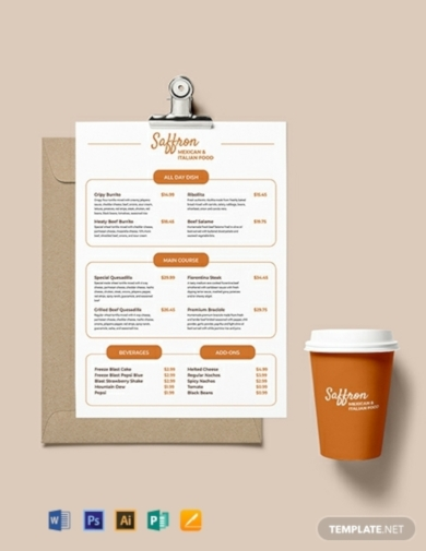 restaurant price menu