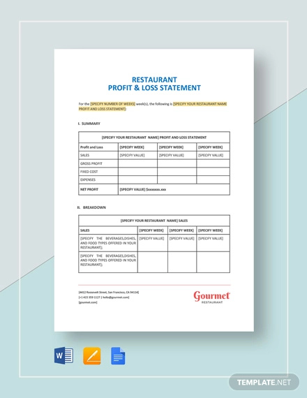 restaurant profit and loss statement template