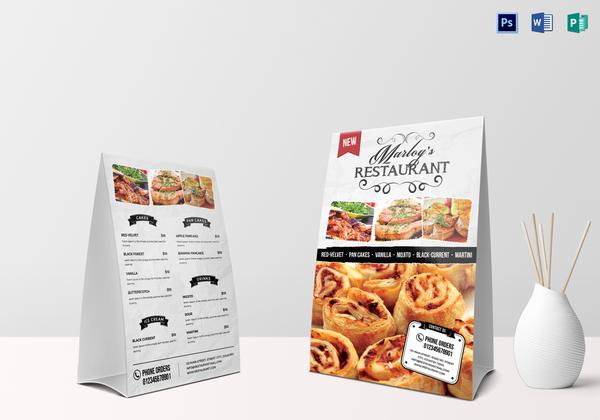 restaurant table tent menu card