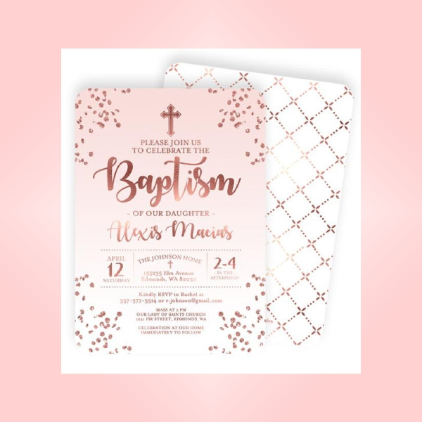 rose gold baptism invitation card