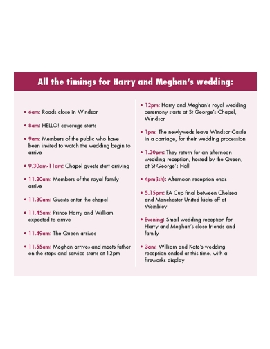 royal wedding schedule