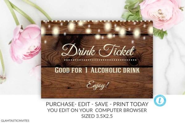 rustic drink ticket