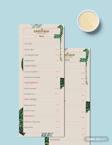 rustic green bar menu