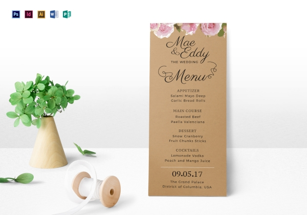rustic wedding menu1