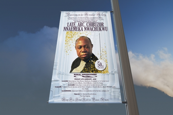 sample funeral announcement roll up banner