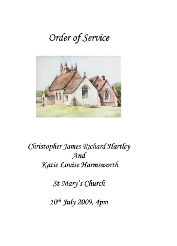 sample order of service for a wedding