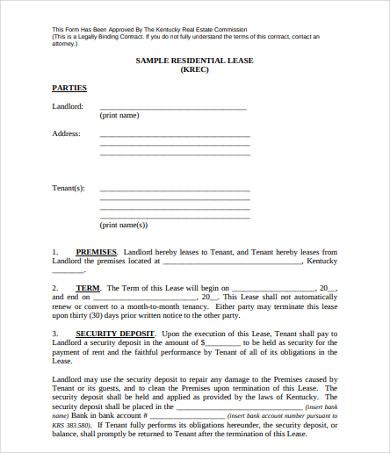 sample real estate residential lease agreement