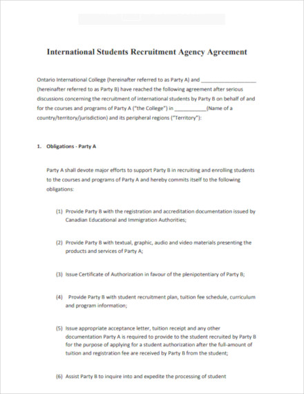 sample recruitment agency contract