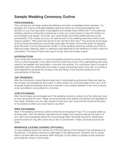 sample wedding ceremony order of service outline
