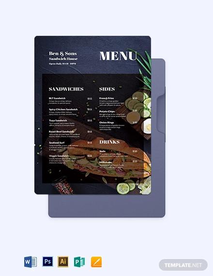 sandwich sub poster menu template