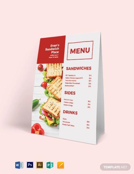 sandwich sub table tent menu template