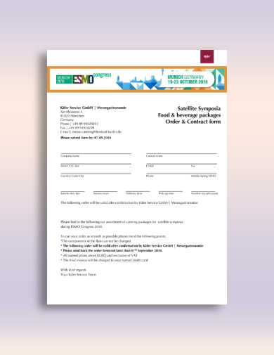 satellite symposia catering order form