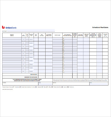 schedule of real estate example