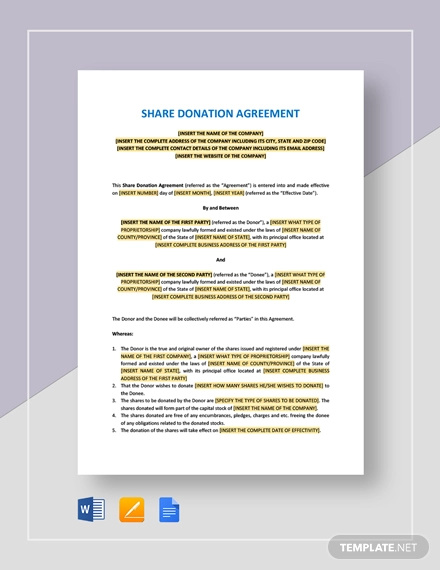 share donation agreement template
