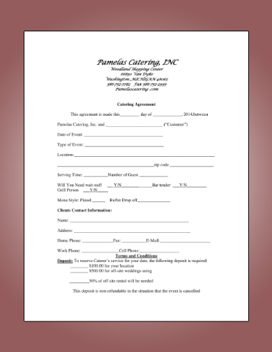 short catering agreement