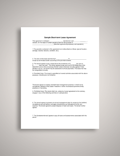 short term tenant lease agreement