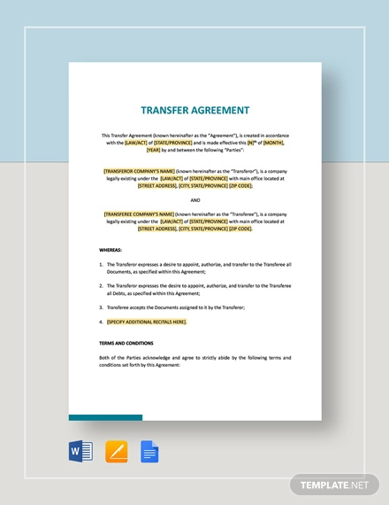 simple agreement of transfer template