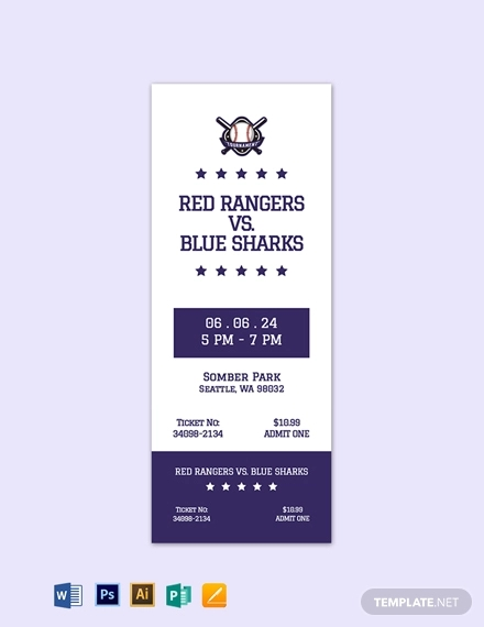 simple baseball ticket template