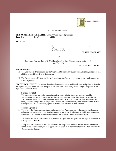 simple catering agreement