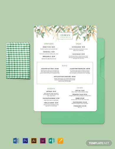 simple catering menu