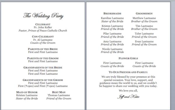 simple catholic wedding program