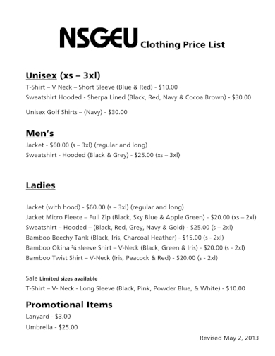 simple clothing price list