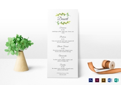 simple dessert menu