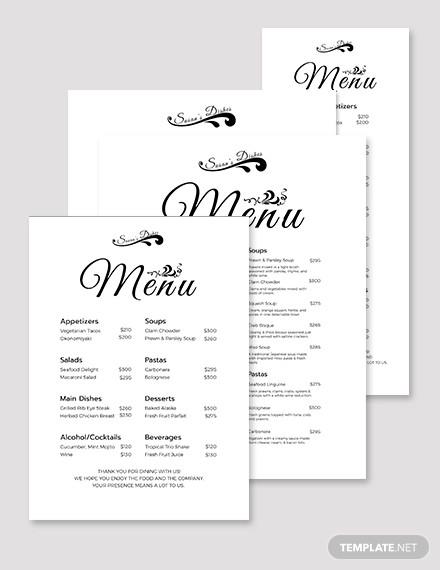 simple dinner menu template