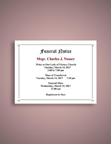 simple funeral notice