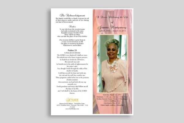 simple funeral program brochure