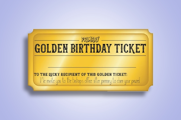 simple golden birthday ticket
