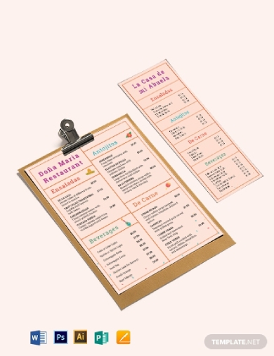 simple pastel mexican menu