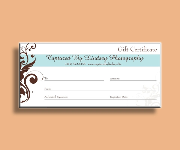 simple photography gift certificate