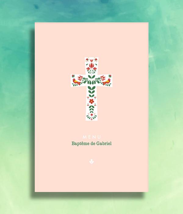 simple pink baptism menu