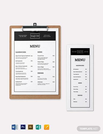 simple sandwich sub menu template