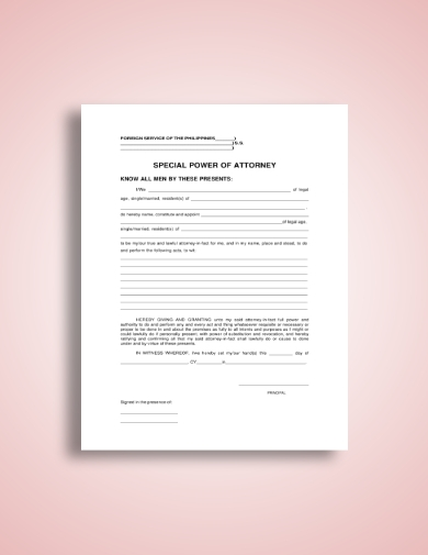 simple special power of attorney