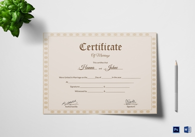 simple wedding certificate