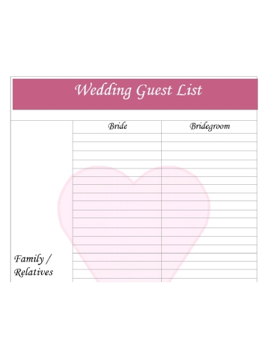 simple wedding guest list