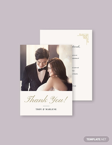 simple wedding photo thank you card