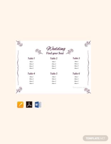 simple wedding seating chart plan